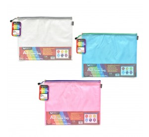 Unicorn Mesh PVC Zipper Bag A3 UZB-M57 (12 pcs)